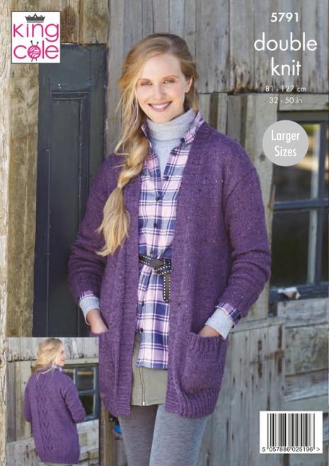 5791 - Ladies Cardigans: Knitted in Homespun DK 81-127cm /32-50cm