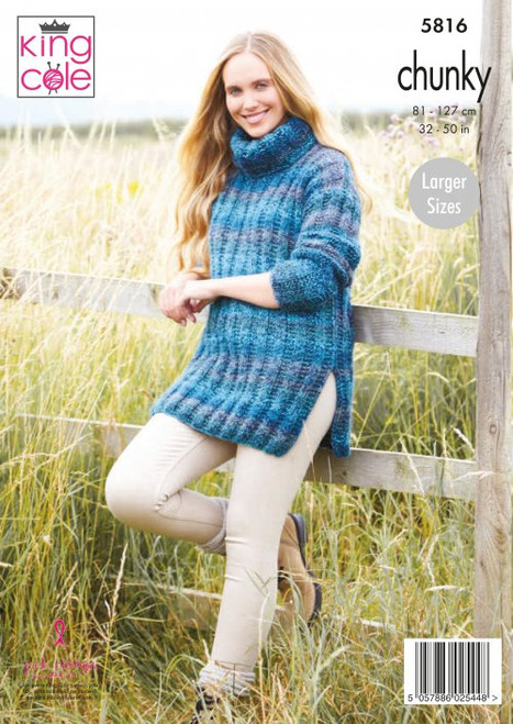 5816 -Ladies Sweater And Tunic: Knitted in Autumn Chunky - 81-127cm /323-50in