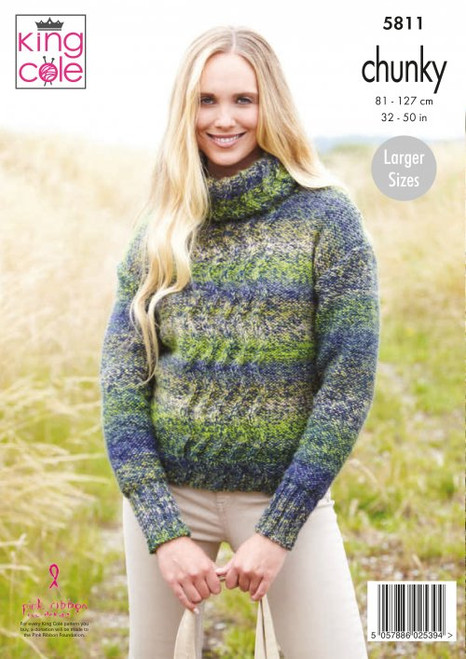 5811- Ladies Sweaters: Knitted in Autumn Chunky - 81-127cm / 32-50in