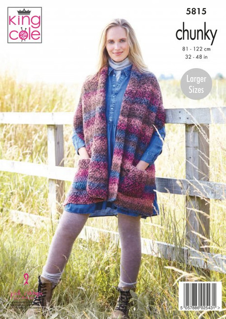 5815 - Ladies Shawls: Knitted in Autumn Chunky 81-122cm / 32-48 in