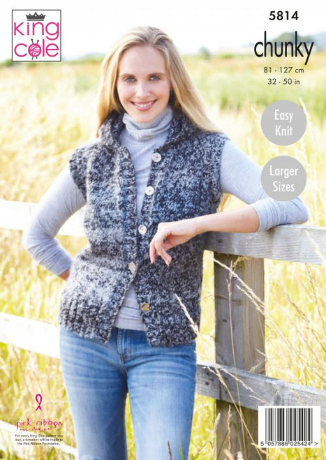 5814-Ladies Waistcoats: Knitted in Autumn Chunky - 81-127cm / 32-50 in