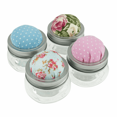 Mini Glass Mason Jar with Pincushion - Filled with Mixed Buttons ( Sold Single)