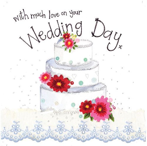 Three Tier Wedding Cake Wedding Sparkles Card