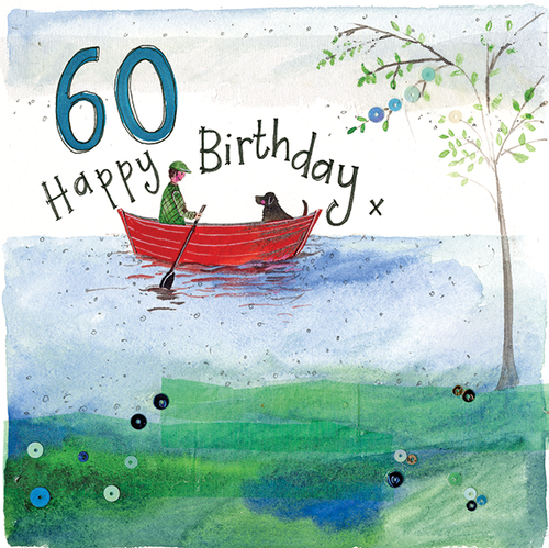 60 - 60th Birthday Boat Sparkles Birthday Card