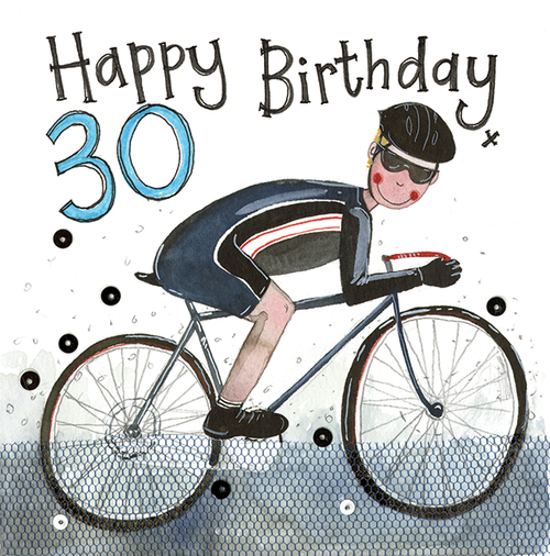30 - 30th Birthday Cyclist Sparkles Birthday Card