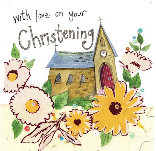 Floral Christening Sparkles Card