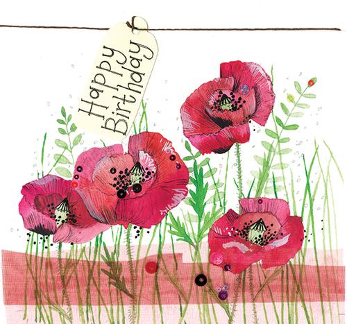 Poppy Flower Sparkles Birthday Card