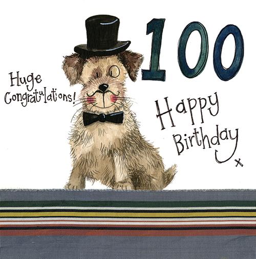 100 - 100th Birthday Paws Sparkles Birthday Card