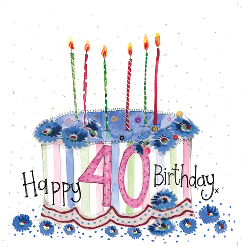 40 - 40th Birthday Cake Sparkles Birthday Card