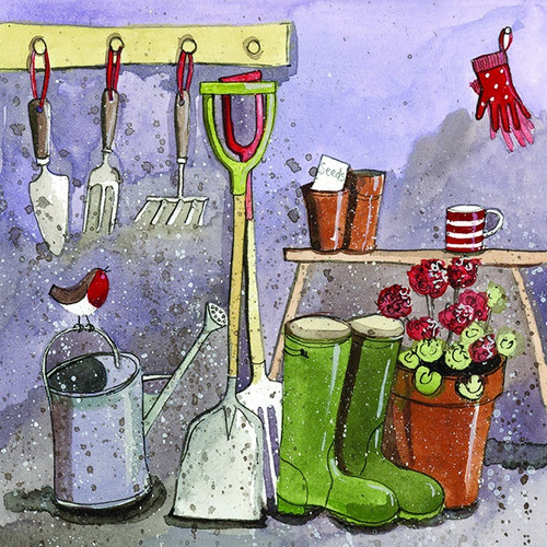 Gardeners Hut Wellies Blank Card