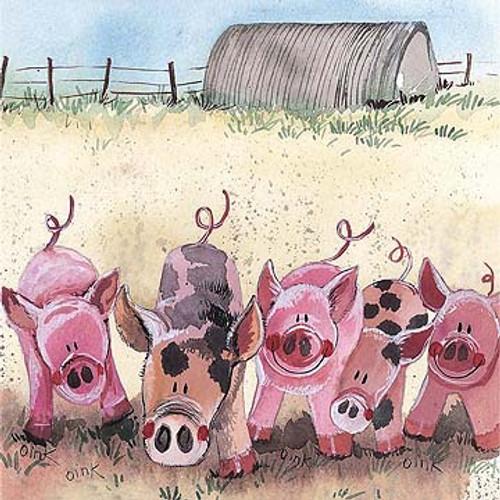 Five Little Pigs Blank Card