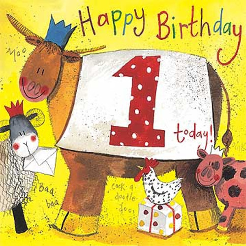1 - 1st Birthday Farmyard Animals Birthday Card