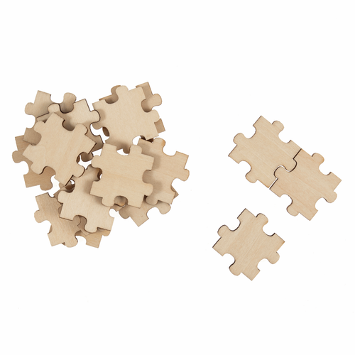Wooden Puzzle Piece Embellishments (Pack of 16)
