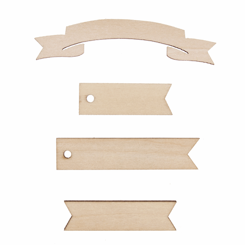 Wooden Banner Embellishments (Pack of 16)