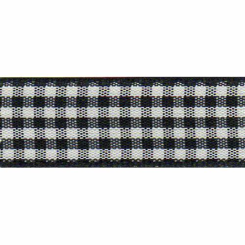 Black & White Gingham Ribbon, 15mm wide (Sold Per Metre)