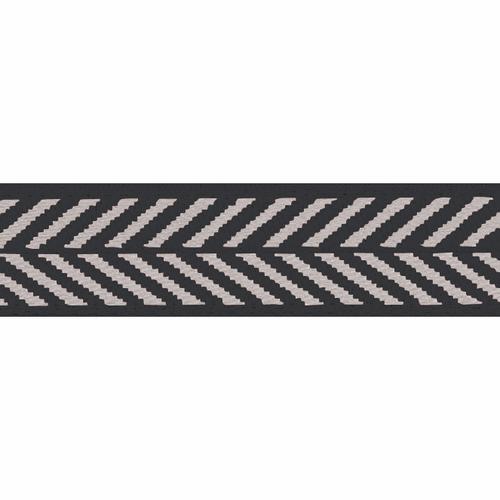 Black & White Herringbone Stripe Woven Ribbon, 10mm wide (Sold Per Metre)