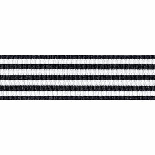 Black & White Stripe Ribbon, 16mm wide (Sold Per Metre)