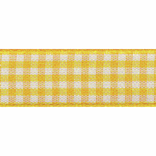 Gold Yellow & White Gingham Ribbon, 15mm wide (Sold Per Metre)