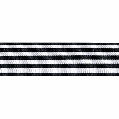 Navy & White Stripe Ribbon, 25mm wide (Sold Per Metre)