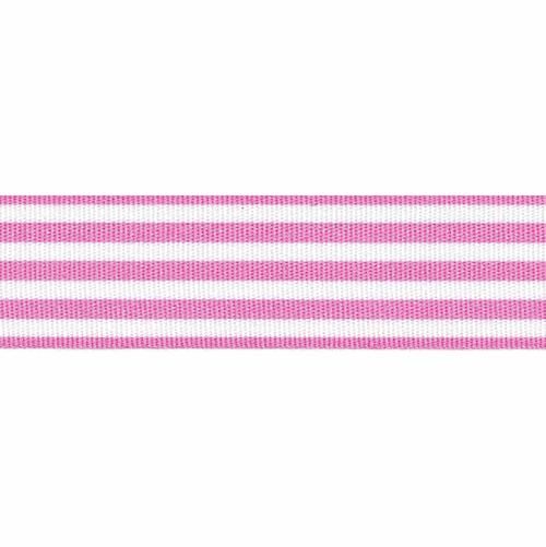 Pink & White Stripe Ribbon, 25mm wide (Sold Per Metre)