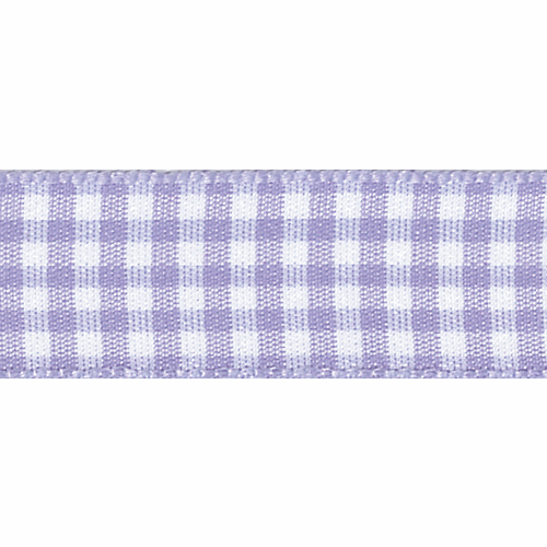 Orchid & White Gingham Ribbon, 15mm wide (Sold Per Metre)