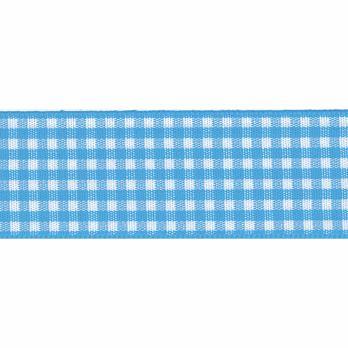 Peacock Blue & White Gingham Ribbon, 15mm wide (Sold Per Metre)