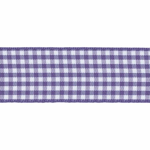 Liberty Purple & White Gingham Ribbon, 15mm wide (Sold Per Metre)