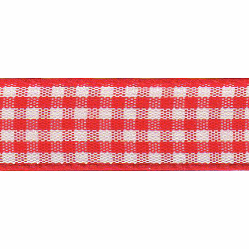 Red & White Gingham Ribbon, 15mm wide (Sold Per Metre)