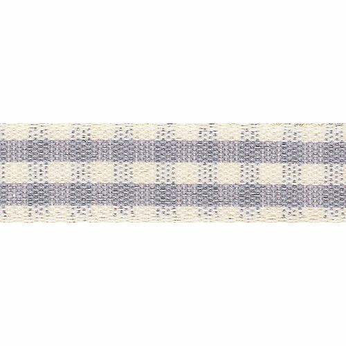 Grey Rustic Gingham Ribbon, 7mm wide (Sold Per Metre)