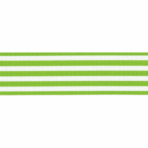 Meadow Green & White Stripe Ribbon, 25mm wide (Sold Per Metre)