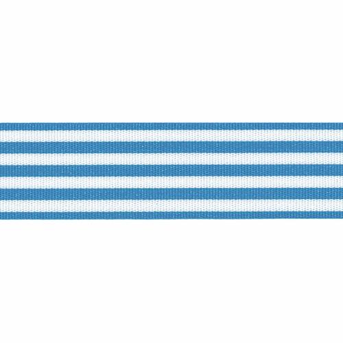 Peacock Blue & White Stripe Ribbon, 16mm wide (Sold Per Metre)