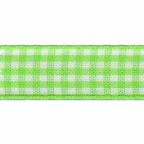 Meadow Green & White Gingham Ribbon, 15mm wide (Sold Per Metre)
