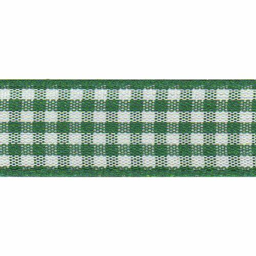 Hunter Green & White Gingham Ribbon, 15mm wide (Sold Per Metre)