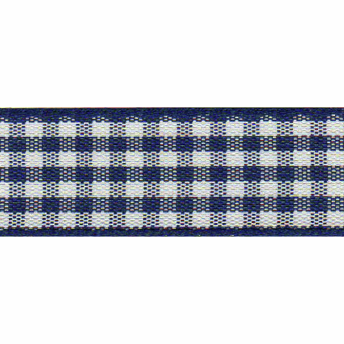 Navy & White Gingham Ribbon, 15mm wide (Sold Per Metre)
