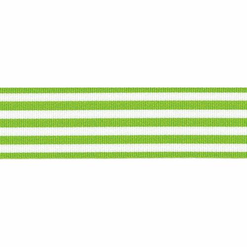 Meadow Green & White Stripe Ribbon, 16mm wide (Sold Per Metre)