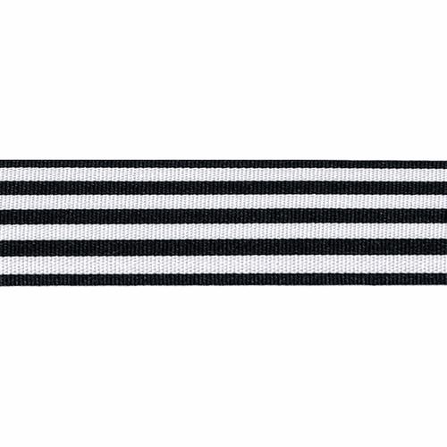 Navy & White Stripe Ribbon, 16mm wide (Sold Per Metre)