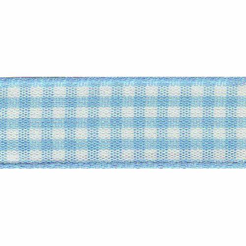 Sky Blue & White Gingham Ribbon, 15mm wide (Sold Per Metre)