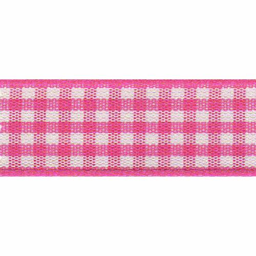 Shocking Pink & White Gingham Ribbon, 15mm wide (Sold Per Metre)