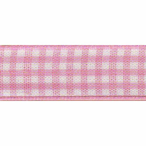 Rose Pink & White Gingham Ribbon, 15mm wide (Sold Per Metre)