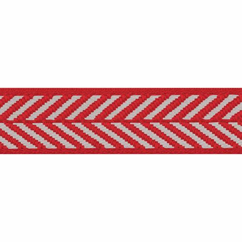 Red & White Herringbone Stripe Woven Ribbon, 16mm wide (Sold Per Metre)