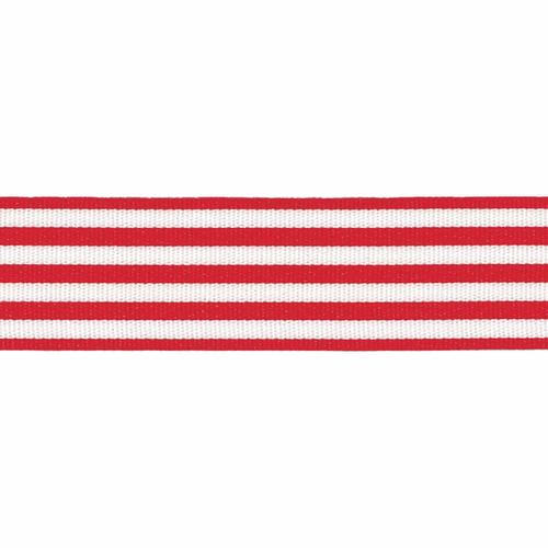 Red & White Stripe Ribbon, 25mm wide, Sold Per Metre