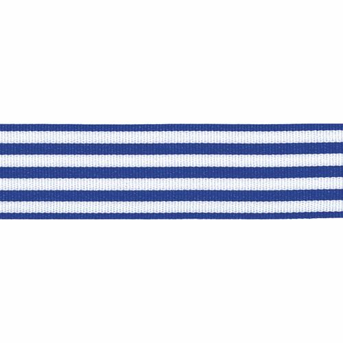 Royal Blue & White Stripe Ribbon, 16mm wide, Sold Per Metre