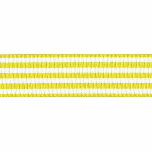 Yellow & White Stripe Ribbon, 25mm wide, Sold Per Metre