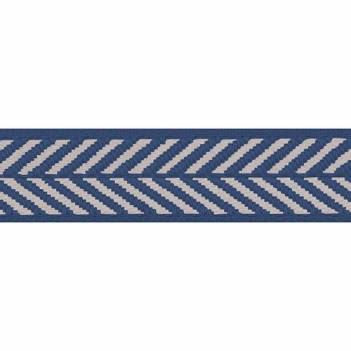 Royal Blue & White Herringbone Stripe Woven Ribbon, 10mm wide, Sold Per Metre