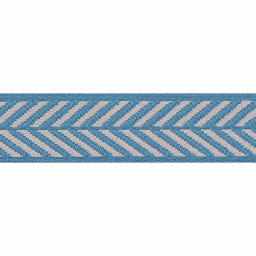 Sapphire Blue & White Herringbone Stripe Woven Ribbon, 10mm wide, Sold Per Metre