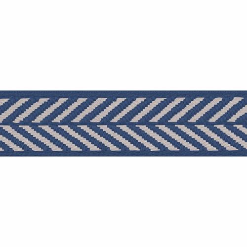 Royal Blue & White Herringbone Stripe Woven Ribbon, 16mm wide, Sold Per Metre