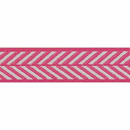 Shocking Pink & White Herringbone Stripe Woven Ribbon, 16mm wide, Sold Per Metre