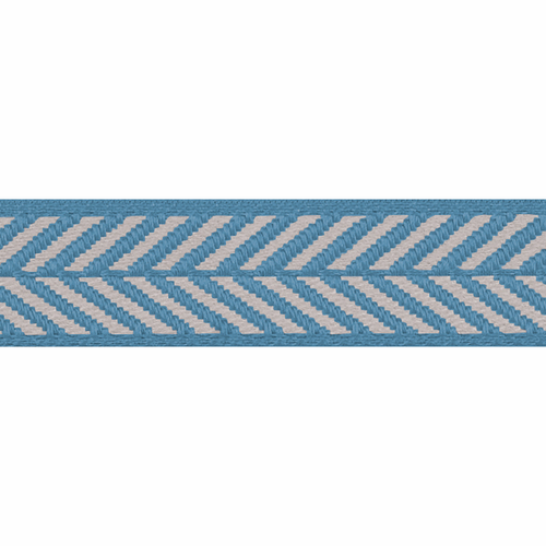 Sapphire Blue & White Herringbone Stripe Woven Ribbon, 16mm wide, Sold Per Metre