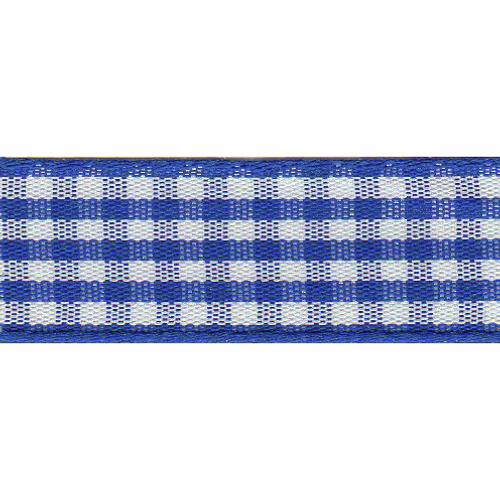 Royal Blue & White Gingham Ribbon, 15mm wide (Sold Per Metre)