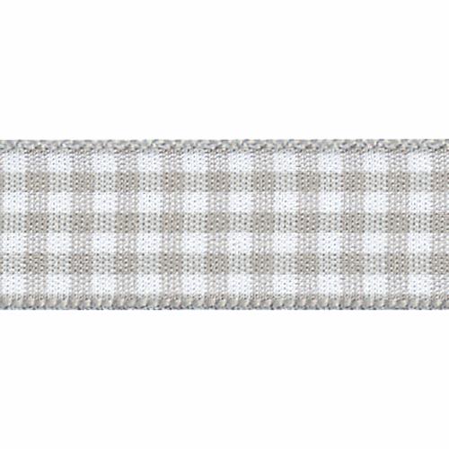 Steel Grey & White Gingham Ribbon, 15mm wide, Sold Per Metre